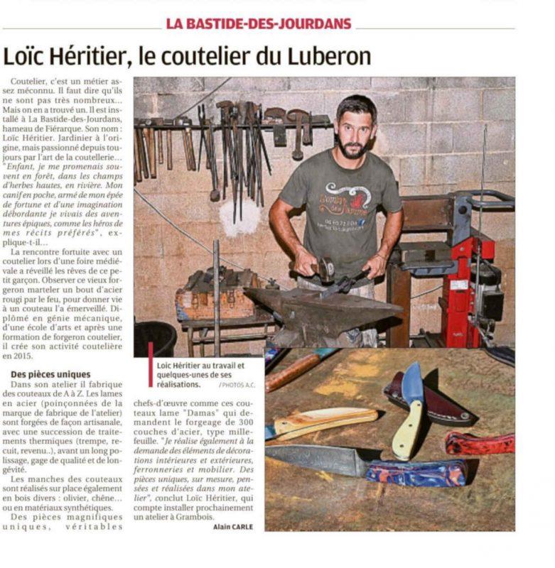 article-presse-la-provence-heritier-loic-15-octobre-2019